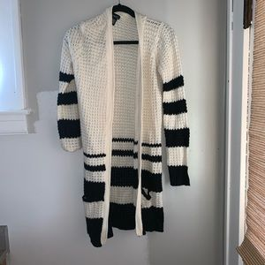 Long black and creme colored open sweater cardigan